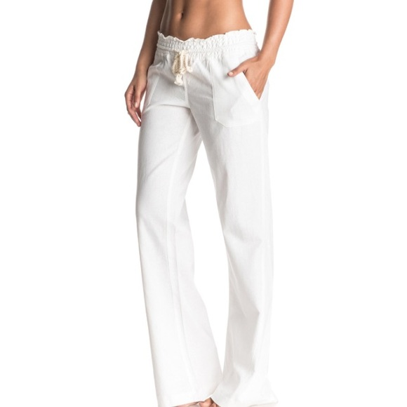 e90508cc36 Roxy Pants | White Linen Beach | Poshmark